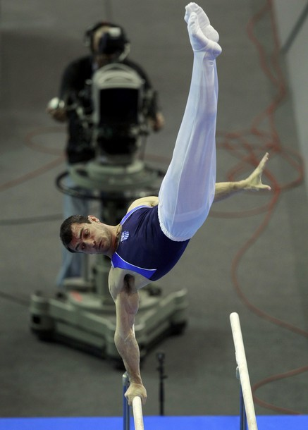 Tsolakidis of Greece competes on parallel bars at men's apparatus finals during the Artistic Gymnastics European Championships in Berlin