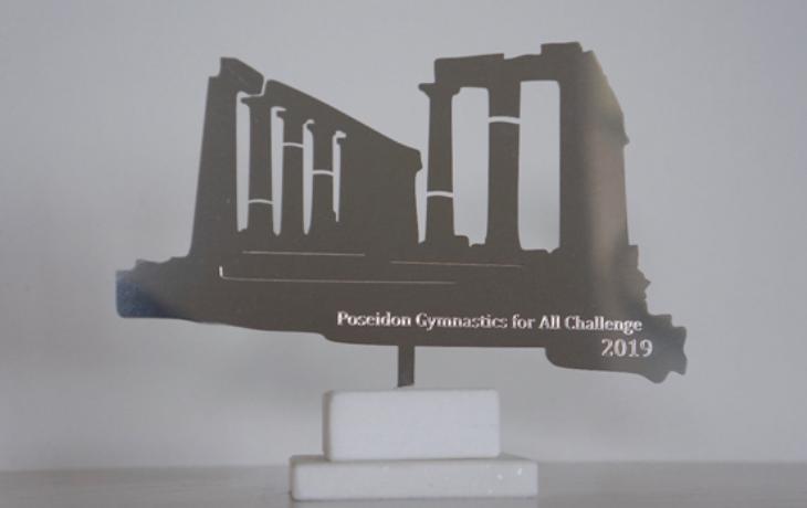 Απεικόνιση Αρχαίου Ναού του Ποσειδώνα, Σούνιο. Επιχρυσωμένος ανοξείδωτος χάλυβας 24Κ σε βάση από Μάρμαρο Θάσου.